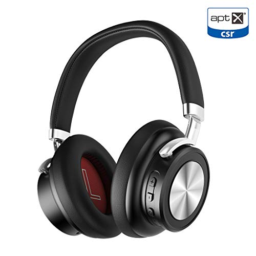 Deep Bass Bluetooth Headphones,Noise Cancelling Bluetooth v5.0 Headsets, Over Ear Wireless Headphones with Mic, Quick Charge, Voice Assistant for Work Travel (Black)