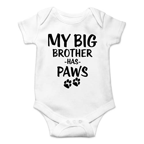 (My Big Brother Has Paws - Animal Lover - Cute One-Piece Infant Baby Bodysuit (6 Months, White))