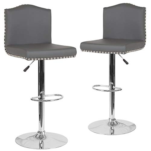 (Flash Furniture 2-DS-8111-GRY-GG Residential Barstools, 2 Pack, Gray Leather)