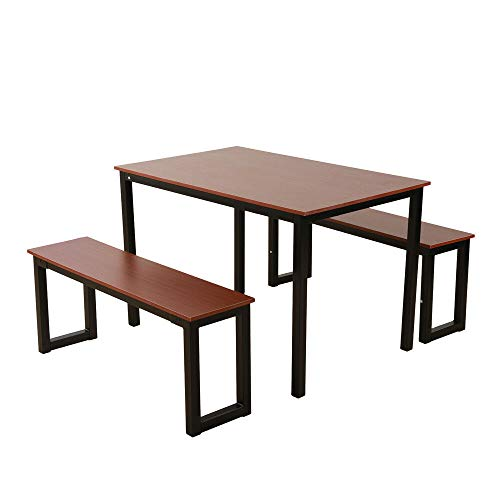 (Pooltana 3 Piece Dining Table Set Teak Color 2 Benches Chair Iron Frame Rectangle Kitchen Pub Room Furniture)