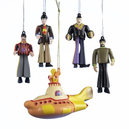Kurt Adler Yellow Submarine 5-Piece Ornament Gift Box Set Beatles Yellow Submarine Ornament