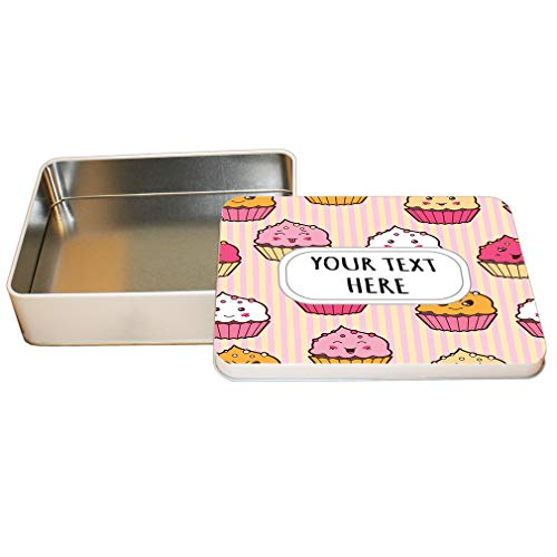 Aluminum Metal Tin Custom Colored Cupcake Seemless Pattern Adults Trinket Box -6