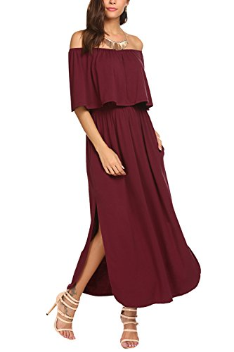 Side Split Dress Burgundy BLUETIME Sleeve Off The Maxi Short Shoulder Pockets with Women Yxwxf1nSqF