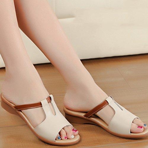 Cómodo Pantalones del verano Mujer femenina que arrastran los zapatos planos de las sandalias Forme a deslizadores frescos Las mujeres usan los deslizadores (6 colores opcionales) (tamaño opcional) Au B