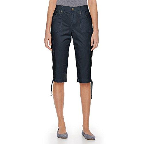 Gloria Vanderbilt Women's Lana Cargo Skimmer Short 8  Midnight Affair (Womens Cargo Bermuda Shorts)