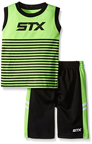 STX Toddler Boys' 2 Piece Performance Athletic Tank and Short Set, Neon Lime/Black, 4T