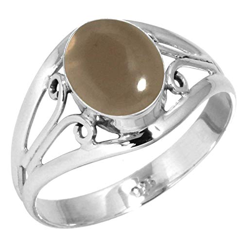 Natural Smoky Topaz Women Jewelry 925 Sterling Silver Ring Size 10