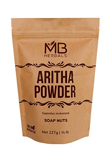 MB Herbals Aritha Powder 227g | Half Pound | 100% Pure & Organic Soap Nut Powder | Natural Hair Shampoo & Conditioner | Sapindus mukorossi