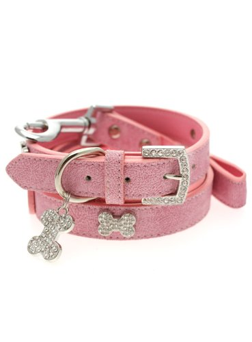 UrbanPup Pink Leather Diamante Collar / Diamante Bone Charm and Leash Set (Medium – Dog Neck Circumference, adjusts: 11″ to 14″ / 28cm to 35cm), My Pet Supplies