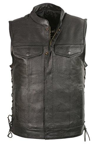 CLUBVEST-Men's Side Lace Snap/Zip Front Club Vest-BLACK-L by Club Vest