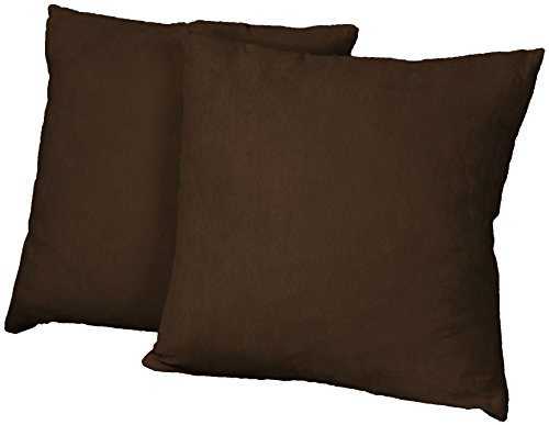 Epic Furnishings Better Fit Decorative Throw Pillows Set of 2, 18-inch Square-size, Microfiber Suede Chocolate Brown (Chocolate Throw Pillows compare prices)