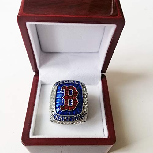 Nine Culture Red Sox (Steve Pearce) 2018 Replica Baseball Championship Ring Super Bowl Collectible Gift Fashion Football Size 8-13 with A Wooden Box (11)