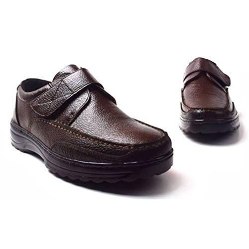 Epicstep Mens Casual In Pelle Di Moda Comfort Scarpe Da Ginnastica Marrone Velcro