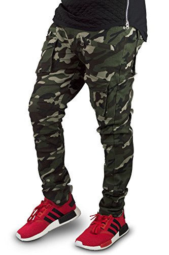ALMAS APPAREL mens skinny Distressed Stretch Biker ripped Slim zipper jeans (40, CAMO-MSP)