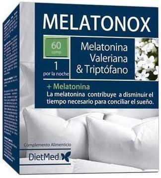 DIETMED MELATONOX 60 Comprimidos Melatonina + Valeriana + Triptofano, Induce al sueño, mejora el sueño, regulación del sueño, reduce la ansiedad, ayuda para dormir, efecto duradero. Mejora animo: Amazon.es: Salud y cuidado personal