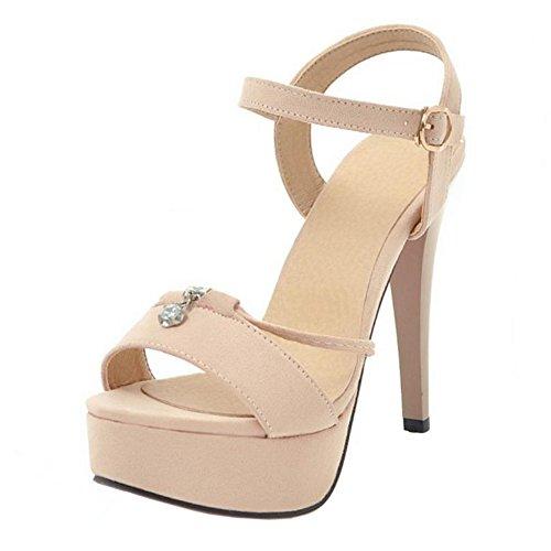 Caviglia Stiletto Sandali Donna alla TAOFFEN Beige Cinturino PXqTwvg