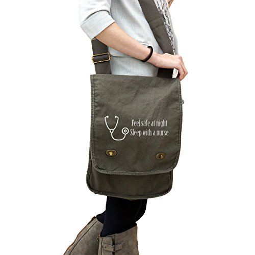 - Funny Feel Safe at Night Sleep with A Nurse 14 oz. Authentic Pigment-Dyed Canvas Field Bag Tote Green