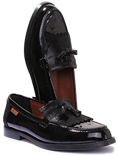 Black Justin On Reece Tassel Slip Loafers Leather Shoes Womens Shiny 8IgxHwrq8