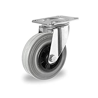 Lenkrolle mit Rückenloch 100 mm Vollgummi grau Stahlfelge
