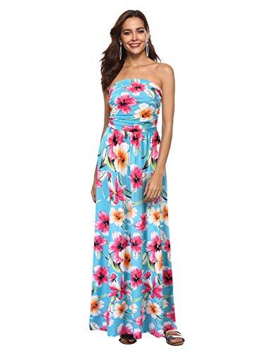 (GloryStar Women Strapless Maxi Boho Vintage Summer Beach Floral Print Hawaiian Party Long Dress (L, Flower1))