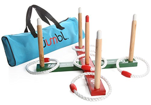 Adult Target (Jumbl Ring Toss Quoits Game For Kids and Adults – Includes Wooden Ring Toss Target Rack, 5 Rings and Carry Bag)