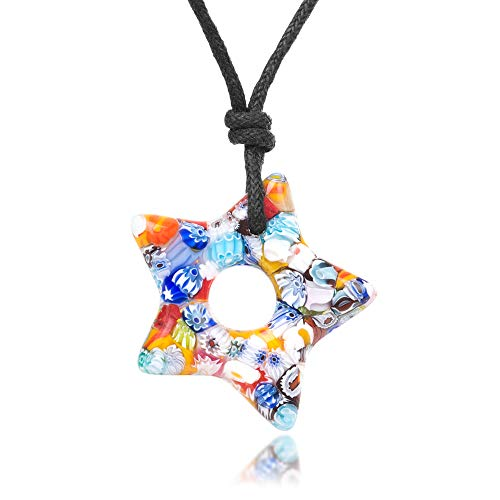 - Chuvora Millefiori Murano Glass Multi-Colored Dangling Star Pendant 30 mm Adjustable Necklace 15