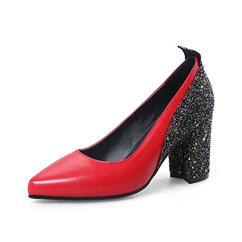 JIEEME Ladies Sexy Block Heels Women Pumps Black Red High Heels Women Court Shoes Red
