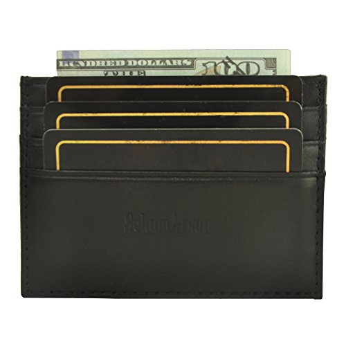 Slim Card Holder, Schumarson Genuine Leather RFID Blocking Card Case, Front Pocket Wallet for Women and Men - Black -