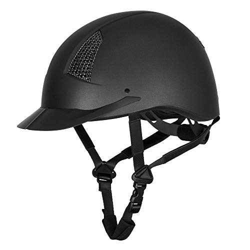 Grill Horse - TuffRider Starter Horse Riding Helmet with Carbon Fiber Grill| Schooling Protective Head Gear for Equestrian Riders - SEI Certified, Tough and Durable - Black - Medium