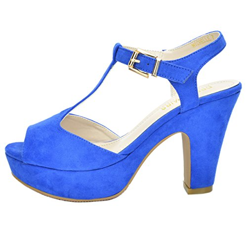 Women's Royal Michelle PAIRS Platform Blue Heel Sandals Pump DREAM Mid ZwTx4O5qq1
