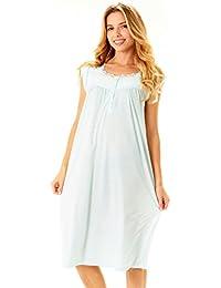 Womens Nightgown Sleepwear Cotton Pajamas - Womans Cap...