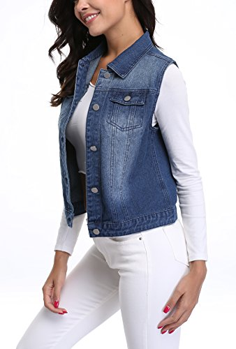 Blue Buttoned Washed Moly Miss Sleeveless Women's Jeans Waistcoat Denim Vest Gilet Deep wT4PBF