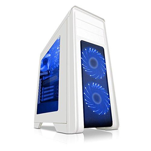 Game Max Falcon Gaming PC-Gehäuse mit 2x 12cm Lüfter mit 16blauen LEDs–Weiß