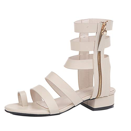 2019 New Womens Sandals,Womens Vintage Boho Shoes Chunky Heel Strappy Zipper Shoes Flatforms Beach Casual Sandal Beige