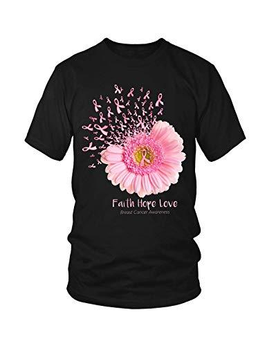 (Breast Cancer Faith Hope Love Daisy Pink Ribbon Shirt )