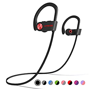 Bluetooth Headphones, LETSCOM Wireless Earbuds V5.0 IPX7 Waterproof Noise Cancelling Headsets, Richer Bass & HiFi Stereo…