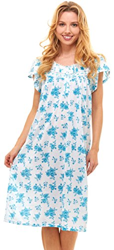 Floopi Womens Nightgown Sleepwear Cotton Pajamas - Womans Short Sleeve Sleep Dress Nightshirt (XL, Aqua-00120)