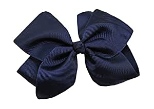 WD2U Extra Large GrosGrain Knot Hair Bow Alligator Clip Navy 1092A