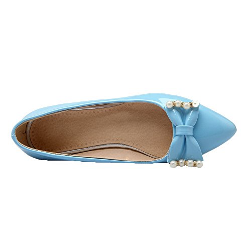 AmoonyFashion Pumps On Shoes Toe Heels Solid 37 Blue Women's Low Closed PU Pointed Pull qU6Zrvqw