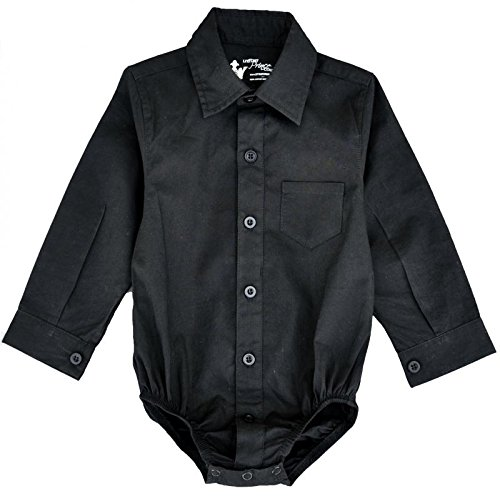 Littlest Prince Couture Infant/Toddler/Youth Long Sleeve Black Dress Shirt Bodysuit 24 Months Couture Black Dress
