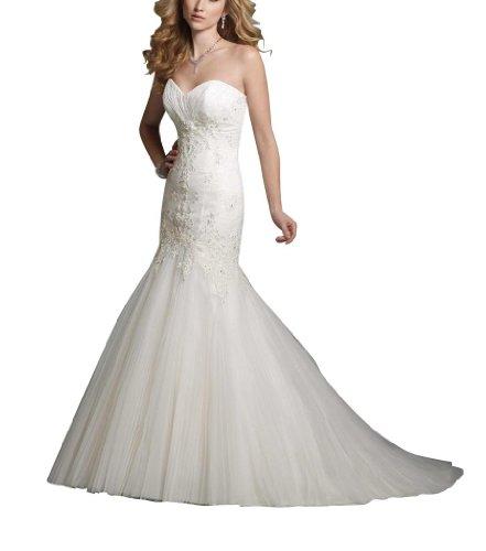elegante Meerjungfrau GEORGE BRIDE Ausschnitt Herz Weiß Brautkleid Perlstickerei rwwXvq75