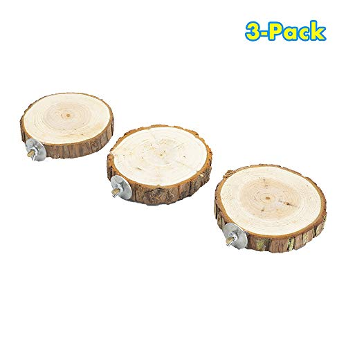 GNB PET 3 Pack Natural Wood Stand Platfrom, Round Bird Perch, Wood Playground Paw Grinding Clean Chew Toy for Pet Parrot, Hamster or Chinchilla