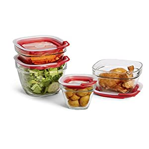 Rubbermaid Easy Find Lids Glass Food Storage Container, 8-piece Set (2856008)