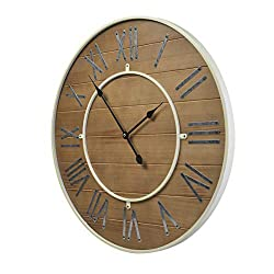 23.6-Inch Oversized Rustic Wood Vintage Silent Non-Ticking Battery Operated Decorative Wall Clock for Home Indoor Decor with Large Metal Roman Numerals