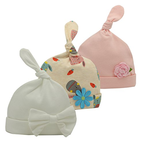 (Nihao Baby Hospital Hat for Newborn Infant Toddler Girl Beanie Hat Cap 3 Pack (Pink White Flower, 6-12 Months))