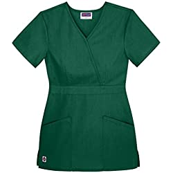 Sivvan Women's Scrubs Mock Wrap Top (Available in 12 Colors) - S8302 - Hunter Green - 3X