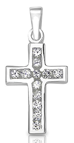 Sterling Manufacturers Precious Cross Pendant for Women, 925 Sterling Silver Jewelry with 12 Channel Round Cubic Zirconia Stones, Platinum Plated - Round Sterling Silver Crucifix
