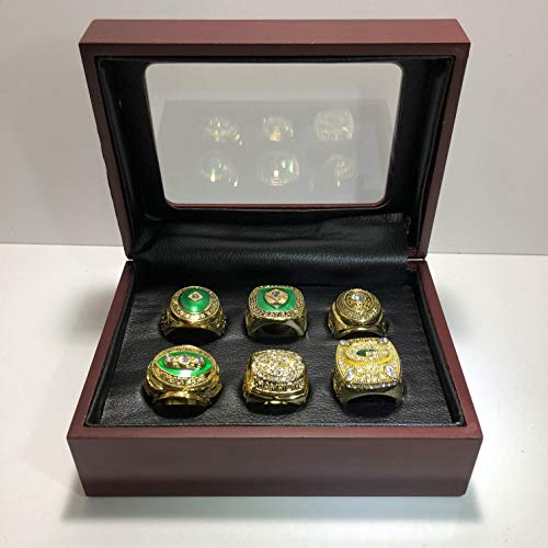 (Set of 6 Green Bay Packers Super Bowl XXXI XLV & League Championship Replica Ring W/Box-Various Sizes Gold Color Collectible)