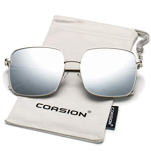 - COASION Oversized Fashion Square Sunglasses for Women Designer Metal UV400 Sun Glasses (Silver Frame/Silver Mirror Lens)