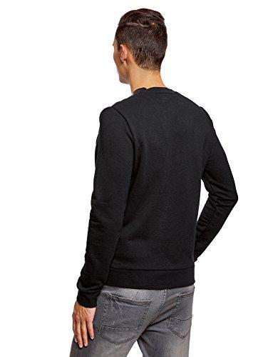 2912b shirt Oodji Sweat Col Ultra Homme Contrastants Empiècements Rond Noir Avec P1qvwA1t